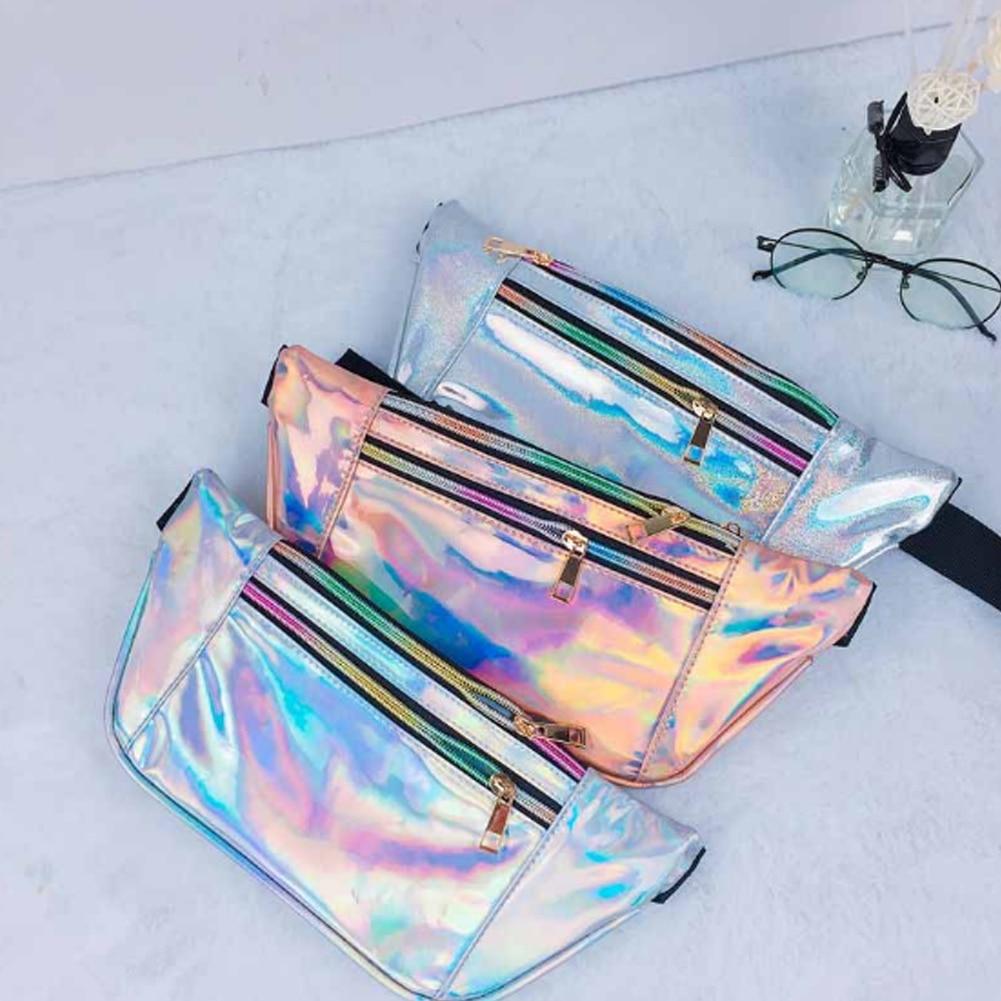 6 Colors Holographic Fanny Pack Women Belt Bag Hologram Laser Waist Bag Bum Bag 2018 New camouflage detail bum bag