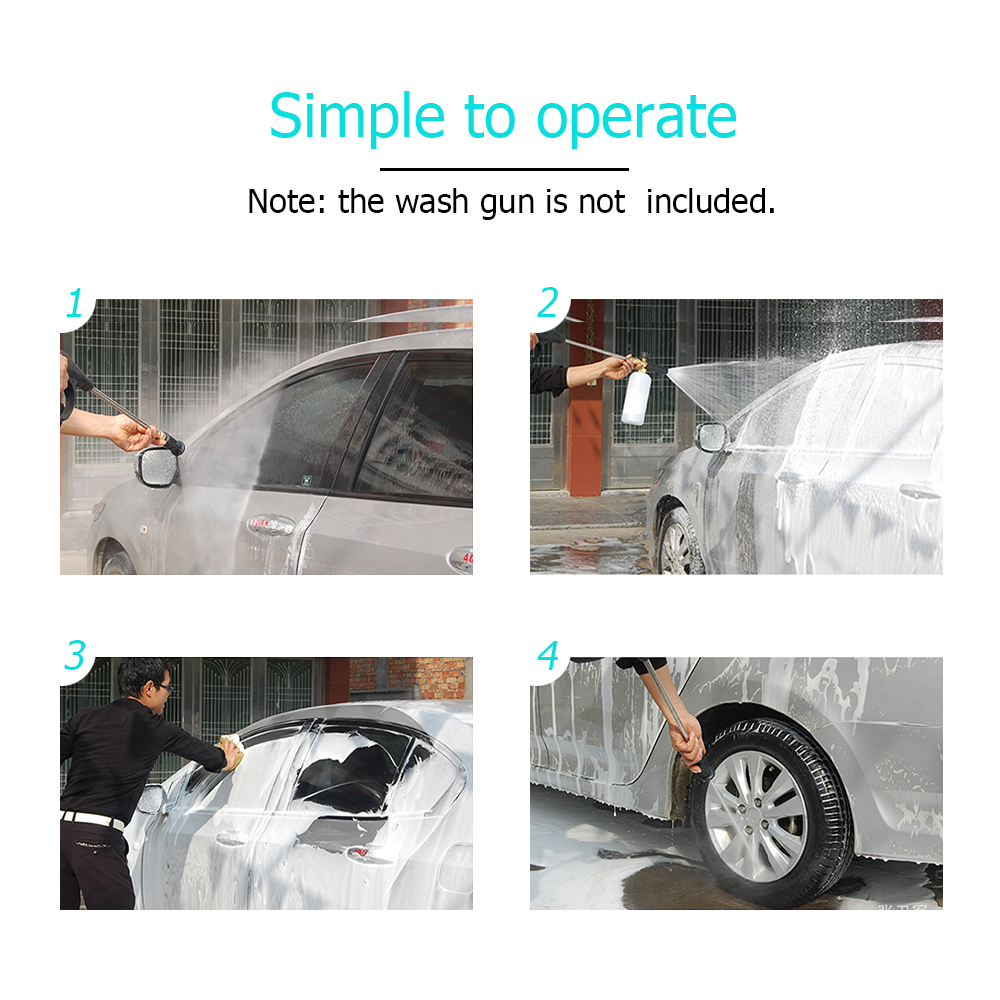 Snow Foam Lance Adjustable Foam Cannon 1 Liter Bottle with 1/4 Quick Connector Generator for Pressure Washer Gun High Pressure