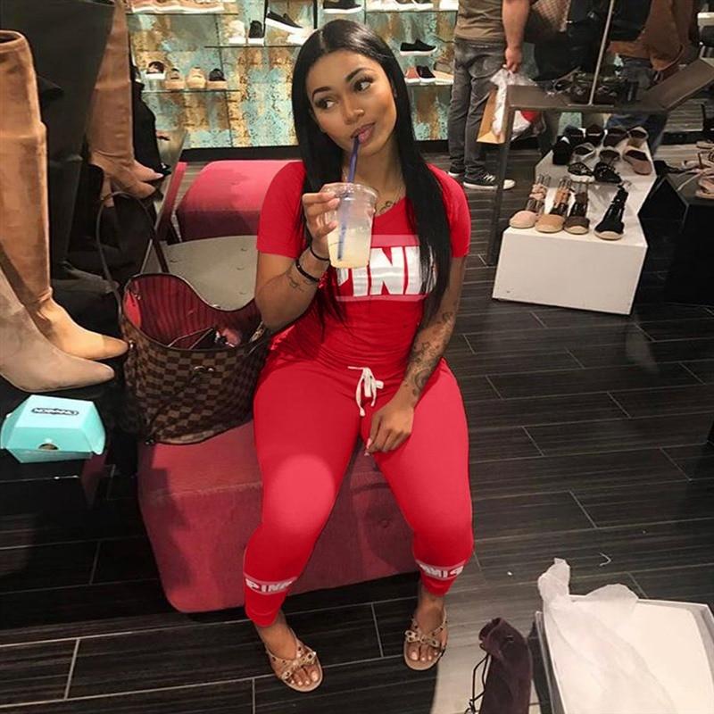 2019 Pink Letters Print Women 2Pcs Set Short Sleeve V Neck Top Tee Long Pants Tracksuit Female Set Fashion Outfits Sportswear