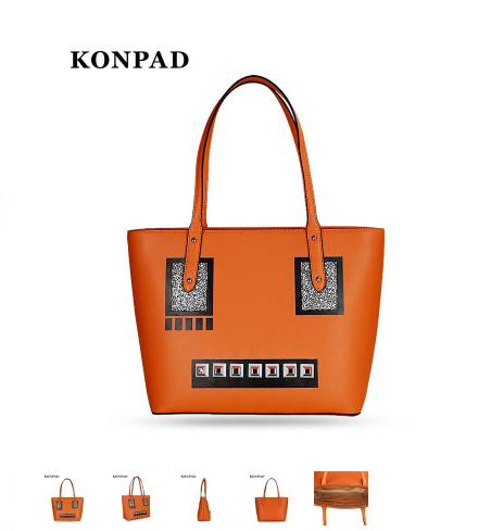fashion woman leather shoulder bag orange pumpkin handbag