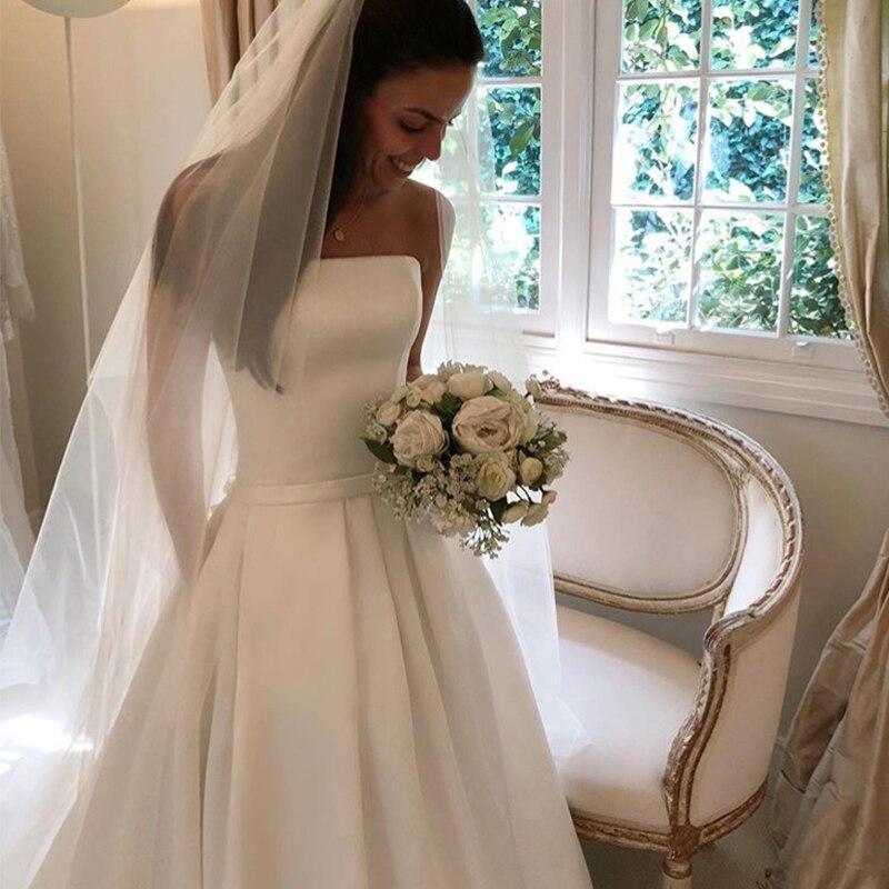 Image 4 - Simple Boho A line Wedding Dresses Strapless Satin Draped Bridal Dress Bow Sashes Vestidos De Noiva Bride Dresses Cheapest-in Wedding Dresses from Weddings & Events
