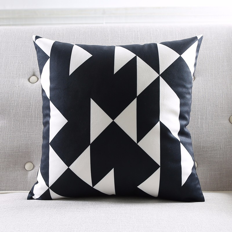 Modern Black And White Kids Cushion Covers Geometric Triangles Stripes Rug Pattern Pillow Cover World Map Velvet Pillow Case 10