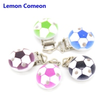 5 PCS Wood Baby Pacifier Clip Round Black Blue Multicolor Football Pattern 4.4cm x 2.9cm(1 6/8 x1 1/8) doreenbeads zinc metal alloy toggle clasps rhombus antique silver pattern pattern 6 7cm x2 8cm 2 5 8 x1 1 8 2 sets new