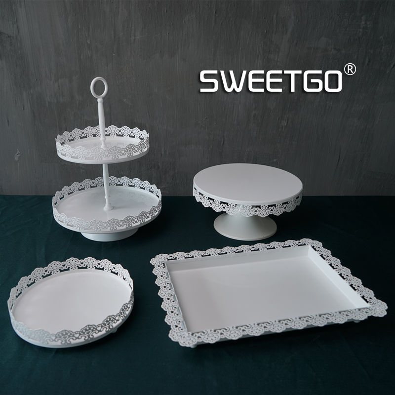 1 Set / 4 Pcs Lace Pattern Wedding Cake Stand Sets White Color ( include Plates u0026 Stands )-in Stands from Home u0026 Garden on Aliexpress.com   Alibaba Group & 1 Set / 4 Pcs Lace Pattern Wedding Cake Stand Sets White Color ...