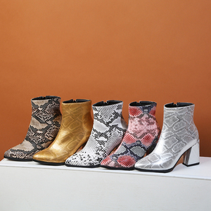 Image 3 - Print Snakeskin Booties Women Ankle Boots Zip Pointed Toe Footwear Thick High Heels Female Snake Boot Women 2020 New g403