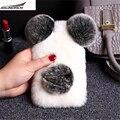 Para o toque 4/5/6 top de luxo rex rabbit fur panda urso ouvido cauda fur plush capa peludo case para samsung s3mini/s4mini/s5mini