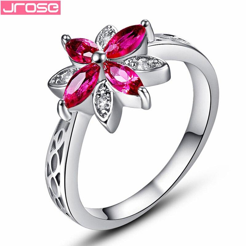 Jrose atacado belas flores vermelho & branco cz branco cor do ouro anel tamanho 6 7 8 9 10 11 12 13 jóias femininas casamento