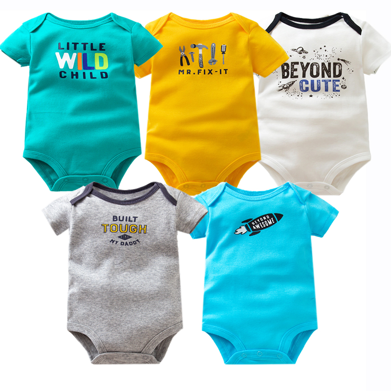 5PCS/Lot Summer Baby   Rompers   Short Sleeve Newborn Baby Boy Clothes 100% Cotton Letter Printed B Baby Girl Clothing 6-24 Month