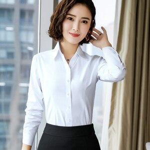 Image 5 - 2019 New Autumn Women Cotton Shirt Fashion Temperament Long Sleeve Slim Formal Blouse Office Ladies Work Tops White Blue