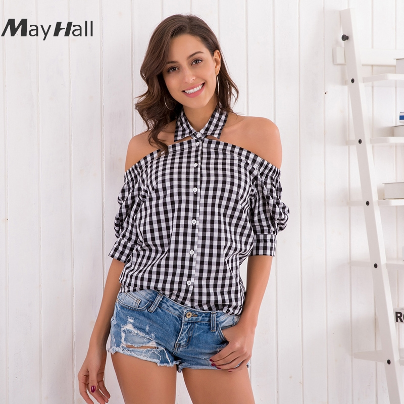 MAYHALL Spring and summer new sexy hanging neck shirt fashion plaid female MH001