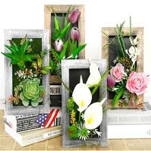 3D Искусственные растения, декоративные стерео искусственные цветы, настенные наклейки, Винтажные Украшения, искусственные растения, настенная художественная рамка