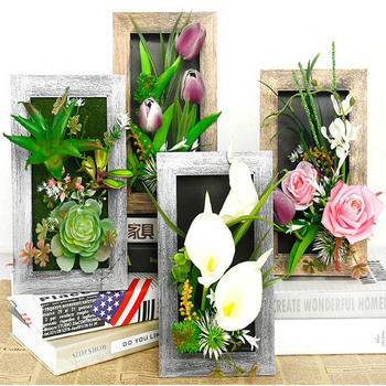 3D نباتات اصطناعية الديكور ستيريو الزهور الاصطناعية جدار ملصق خمر زينة وهمية النباتات جدار ديكور فني إطار