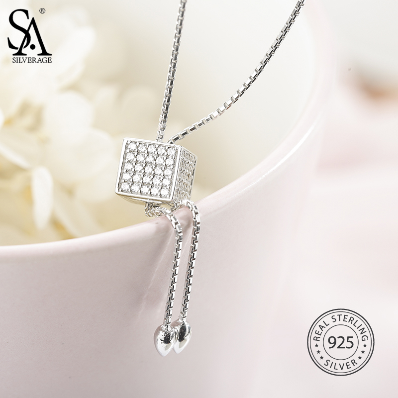 925 Sterling Silver Long Geometric Pendant Necklace Sweater Chains Necklace Square Jewelry Rectangle Pendant