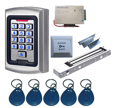 Complete Single Door 125Khz  RFID & PIN  Access Control System Kit with EM Lock, Metal Controller metal rfid em card reader ip68 waterproof metal standalone door lock access control system with keypad 2000 card users capacity