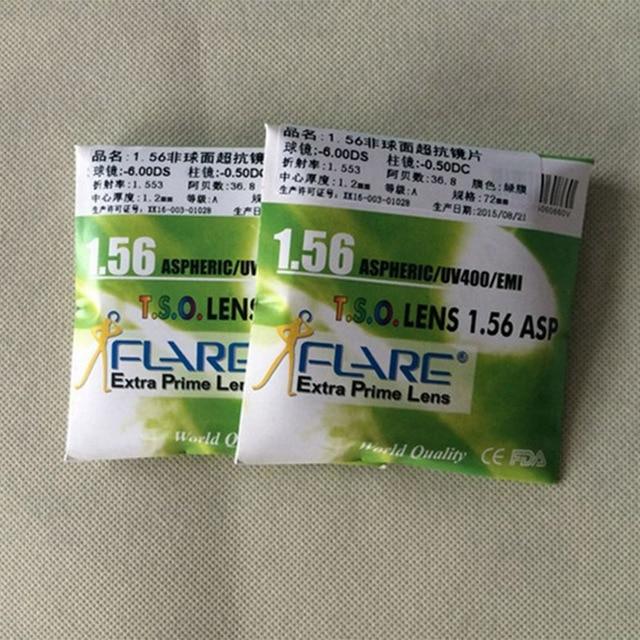 1.56 Aspherical Glasses Lens Anti-radiation Anti-UV400 lenses With Green Coated Computer Hardened resin lenses