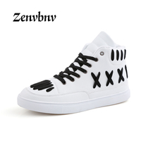 ZENVBNV Fashion New Style Men Casual Shoes High Quality Skull Men Hip Hop Leather Shoes Waterproof