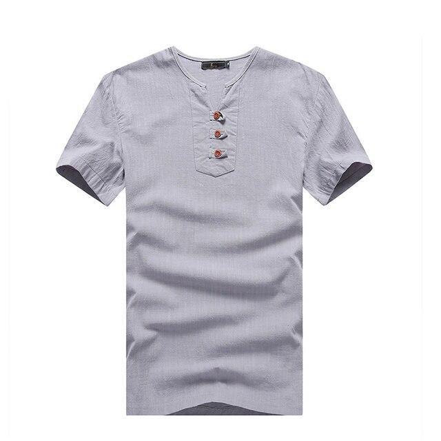 New Summer Fashion Mens T Shirts Henley V Neck Slim Fit Short Sleeve Linen