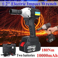 21V Cordless Brushless Electric Impact Wrench LED light High Torque with 2 Li ion Battery Impact Wrench Power Tools