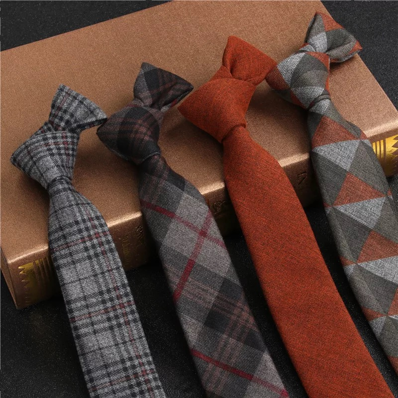 JEMYGINS Original High Quality Cotton 2.4'' Skinny Plaid Solid Cashmere Tie Wool Men Neck Tie For Youth Working Meeting