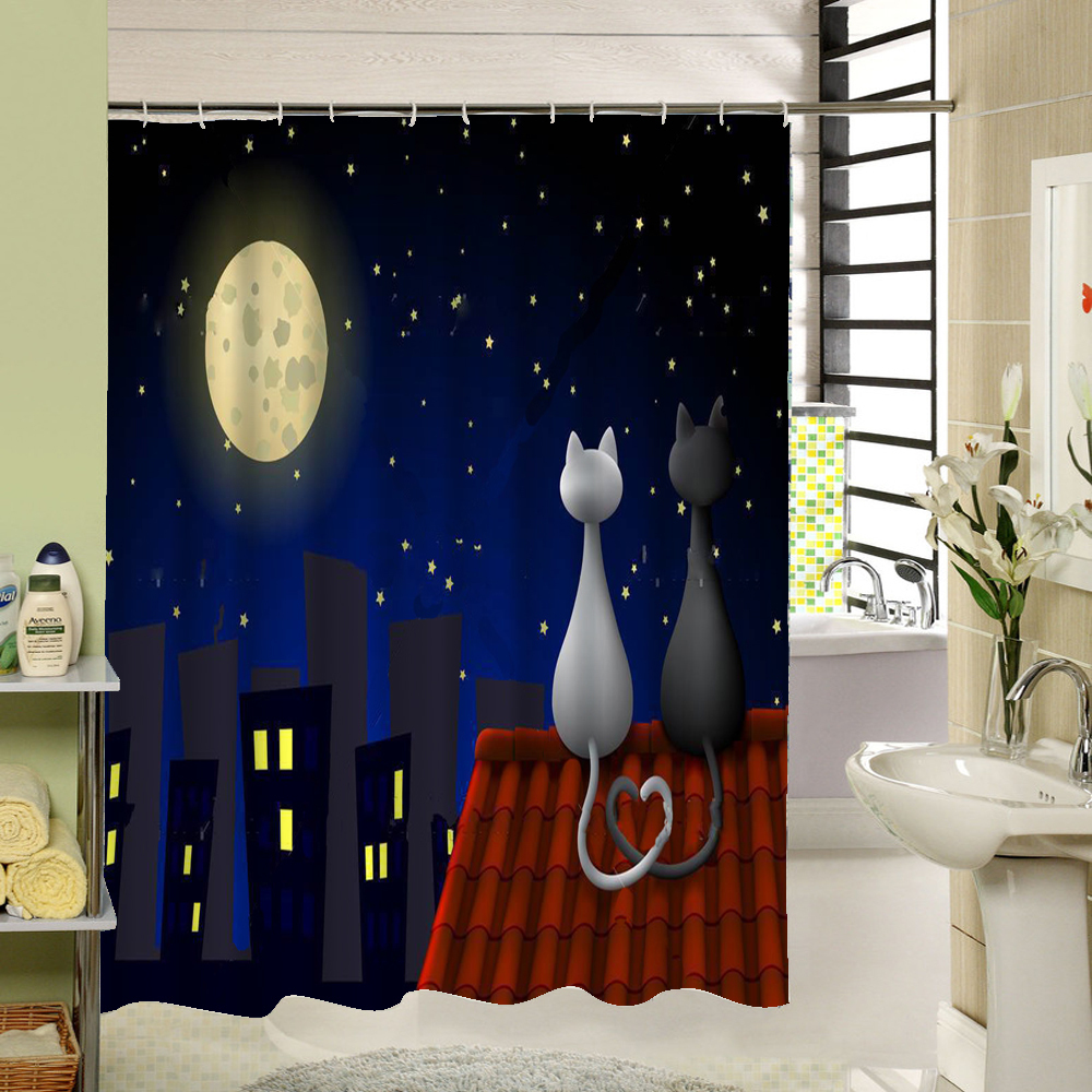High Quality Cute Cat Shower Curtain Custom Cartoon Pattern 3d Print Bathroom Curtain For <font><b>Kids</b></font> Waterproof Polyester Fabric Liner