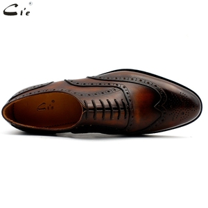 Image 3 - cie oxford patina brown brogues dress shoe genuine calf leather outsole men leather work shoe handmade quick delivery No. 20311