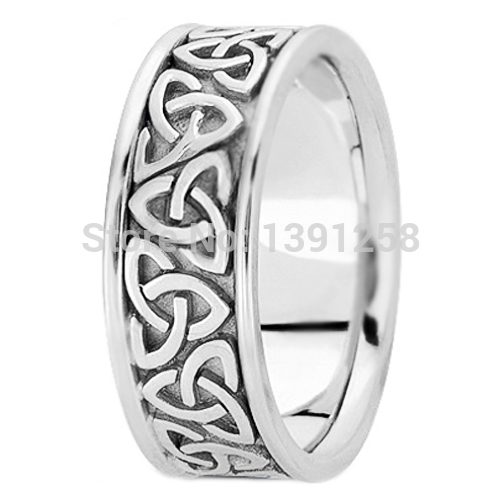 e675f4b90d8 7mm Triquetra Celtic Knot Engrave Pattern mens Wedding Ring Palladium pd500  pd950 band jewelry gent Free engraving His best gift