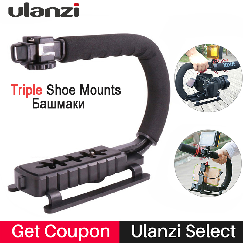 Ulanzi U-Grip Handheld Smartphone Video Rig Triple Shoe Mounts Steadicam Stabilizer for iPhone Nikon Canon DSLR Boya BY-WM4 Mic