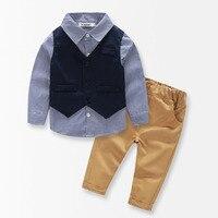 3 PCS Baby Boys Clothing Set Plaid Shirt Vest Long Pants Gentleman Baby Clothes Suit Spring