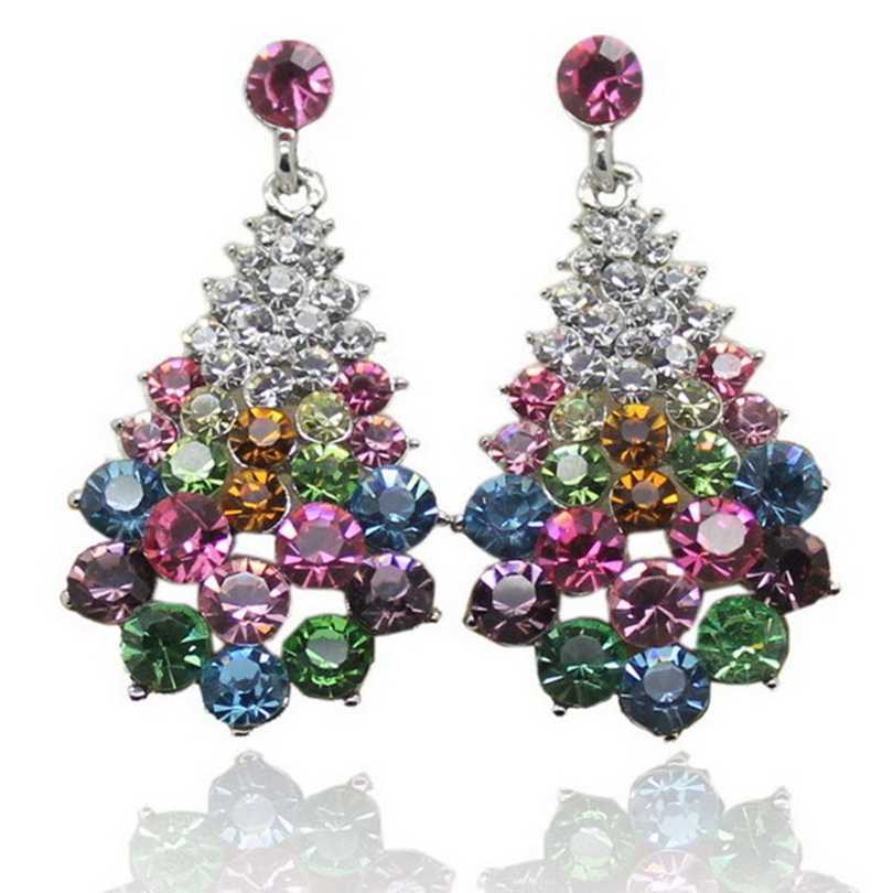 High Quality Fashion Charm Stud Earrings with Stone Casual colorful Rhinestone Christmas gift women Crystal Earrings Jewelry