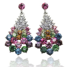 Christmas stone stud rhinestone charm colorful earrings casual crystal gift jewelry