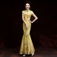 Yellow Green Embroidery Cheongsam Long Qipao Women Traditional Chinese Dresses Retro Dressing Gown Evening Dress Robe Orientale