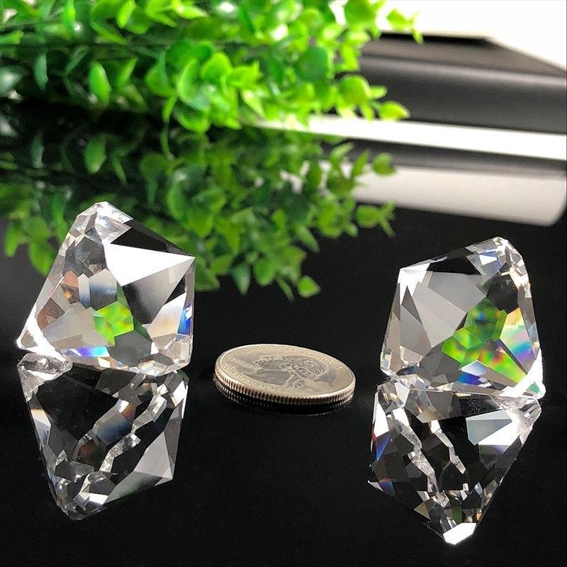 2Pc New Suncatcher Crystal Prism Hanging Light Chandelier Cone Pendant DIY Window Decor Glass Art Prism