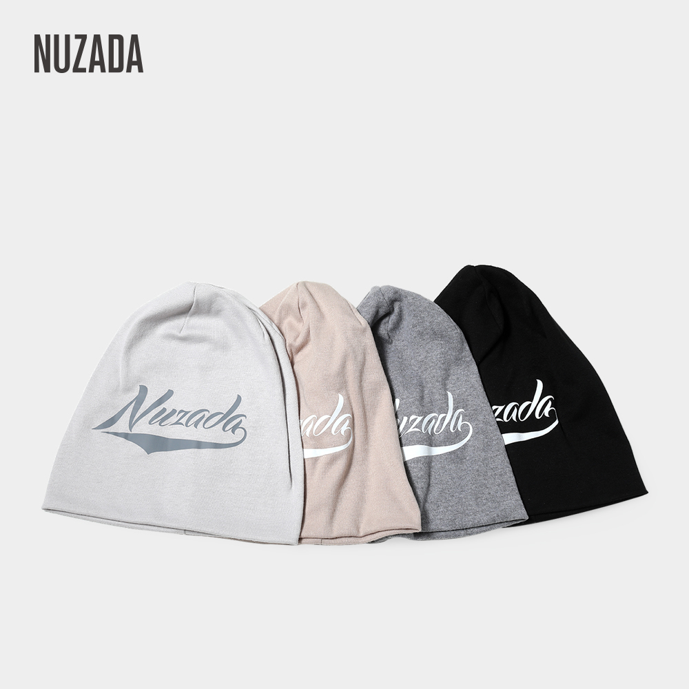 NUZADA Brand Letters Knitted Caps Spring Winter Autumn   Skullies     Beanies   For Men Women Double Layer Cotton Cap Bonnet Hat