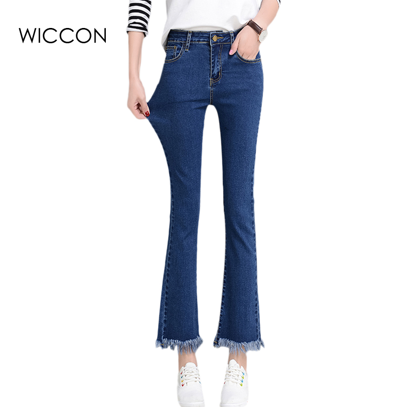 High waist black women jeans female spring blue  slim thin jeans woman skinny denim bell bottom ankle length pants trousers 2017 new jeans women spring pants high waist thin slim elastic waist pencil pants fashion denim trousers 3 color plus size