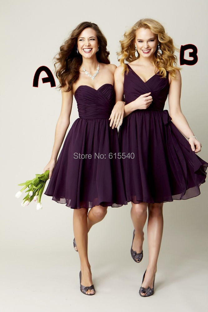 Sweetheart Dark Purple Bridesmaid Dress Ruffles Knee Length A-line Chiffon Short 80$ - FashionLive store