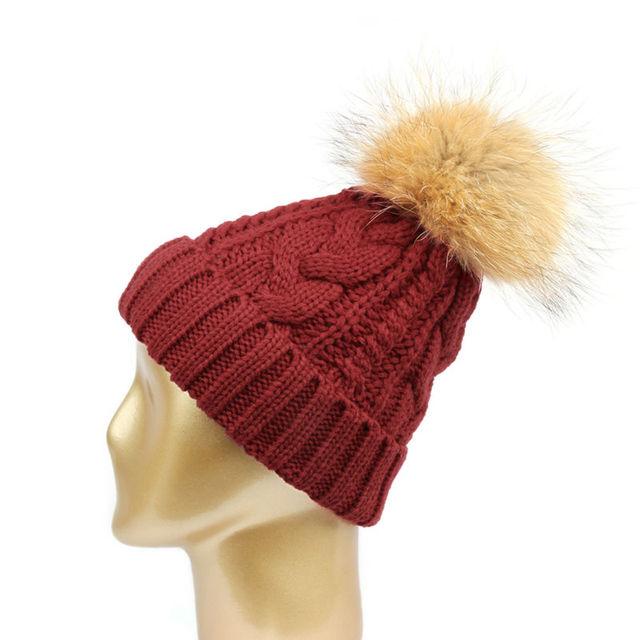 2016 Hat Female Fur Pompon Thick Hip Hop Fashion Men Women Warm Women's Knitted Winter Hats Beanies #CAP6A18