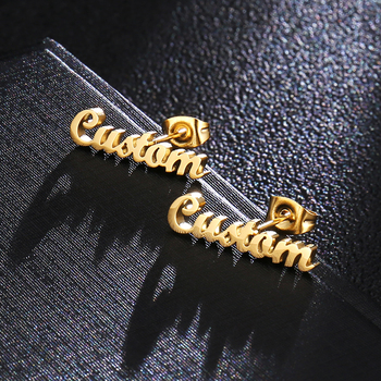 Gold Stainless Steel Personalized Name Stud Earrings For Women Handmade Custom Jewelry Bridesmaid Gift Rose Gold Oorbellen enfashion double cirlce line earrings gold color earings stainless steel stud earrings for women fashion jewelry oorbellen