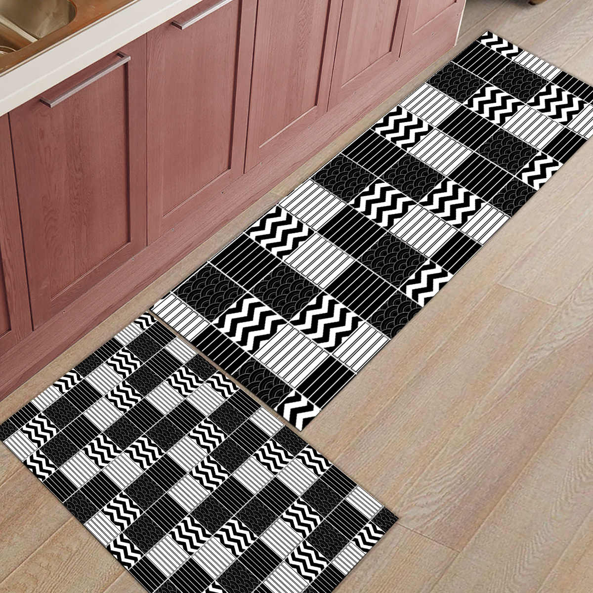 2 Piece Kitchen Mats And Rugs Set Modern Black Traditional Japanese Pattern Wave Home Deocr Non Skid Area Runner Doormats Carpet