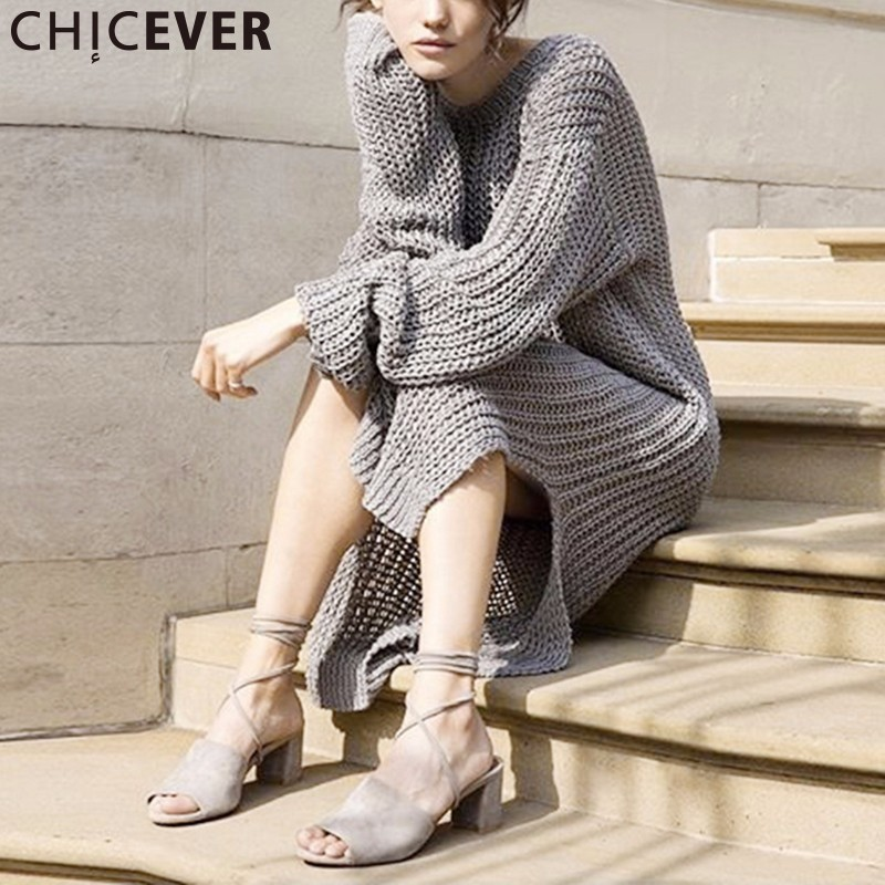 CHICEVER Knitted Midi Dress Women Autumn 2017 Long Sleeve Hollow Out Black Knitting Dresses Female Big Size Loose Casual Clothes