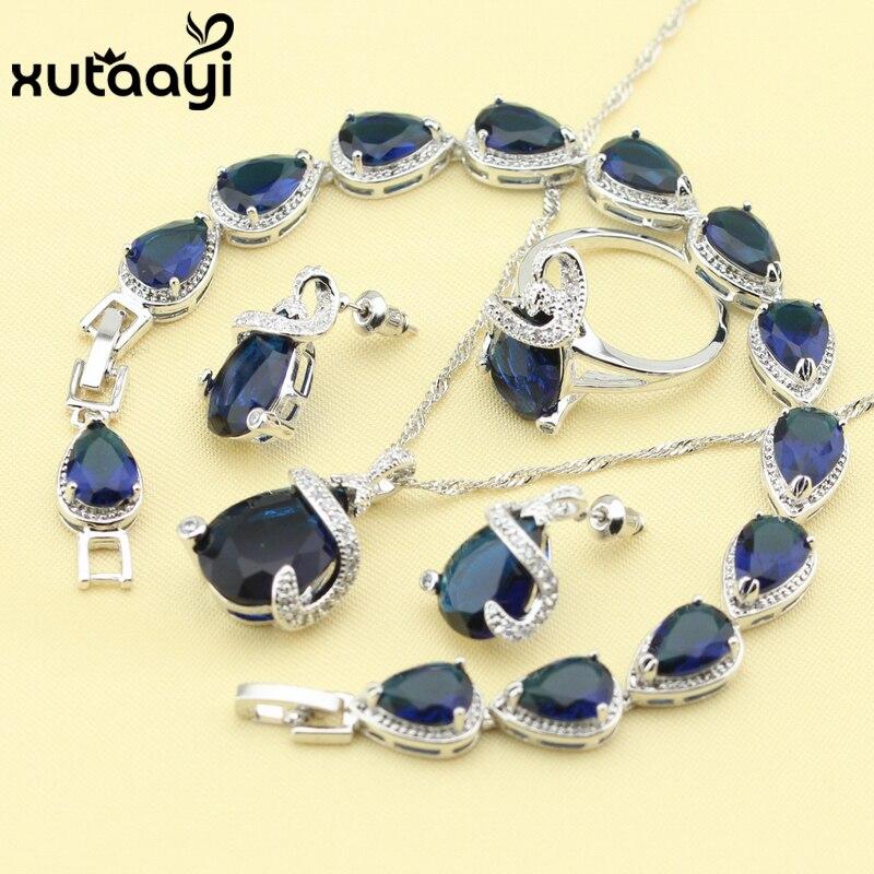 Для женщин четырех частей Голубой цирконий Мода 925 Серебряные комплекты ювелирных изделий ангельский Цепочки и ожерелья кольца, серьги, браслет бесплатная коробка