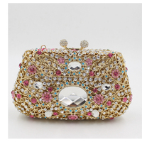 Diamond +Metal Frame Women Bag Evening Party Clutch Purse Hand Bag Day Clutches for Lady wallets Sac A Main pink/gold/red/white