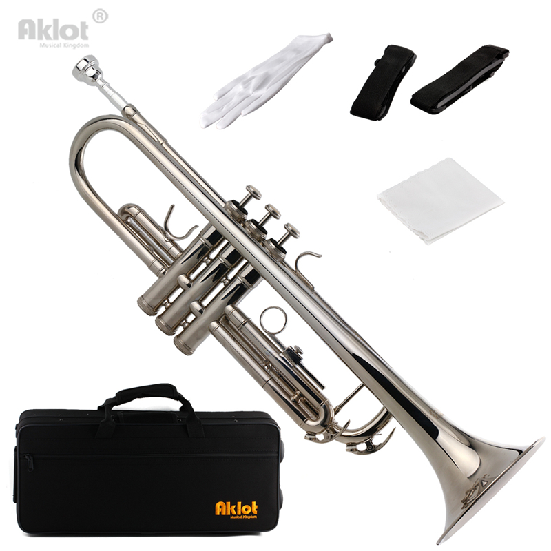 Aklot Bb Beginner Trumpet with Silver Plated Mouthpiece Silver Purple Red Blue Black professional new silver plated trumpet bb keys with monel valves horn case
