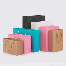 20PCS Kraft Paper Gift Bag with Handle Wedding Birthday Party Cookies Candy Package Bags Christmas New Year Gift Bag 100 pcs paper gift bags with handles for wedding birthday party favors small bag present cosmetics jewelry kraft paper bag candy