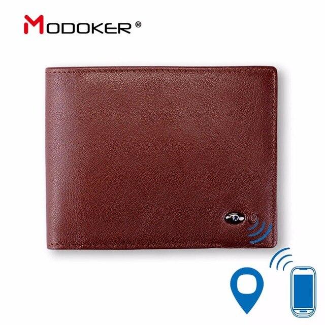 Portemonnee Zwart Leer.Modoker Smart Portemonnee Echt Leer Met Alarm Gps Kaart Bluetooth