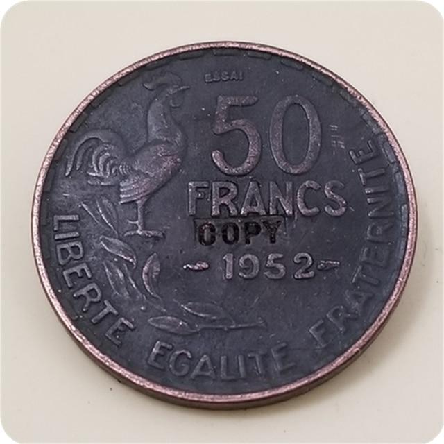 Copie 1952(Essai) de pièces commémoratives de collection, badge de France 1954,1958, 50 Francs