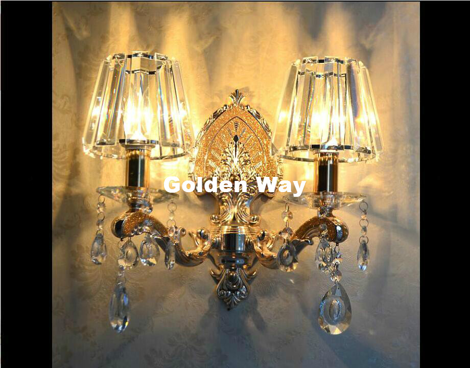 Modern European Crystal Bedroom Wall Lamp K9 Clear/Champagne/Cognac Crystal Sconce K9 Crystal Wall Sconces AC 100% Guaranteed k9 crystal chandelier bedroom lamp hall popular design guaranteed 100% upscale atmosphere crystal light