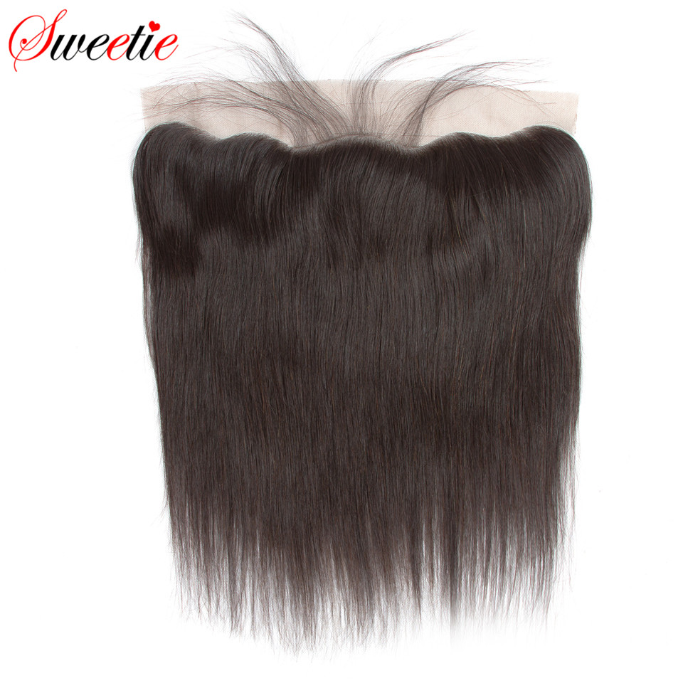 Sweetie Peruvian Straight 13x4 Ear To Ear Lace Frontal Closure With Baby Hair Free Part 100