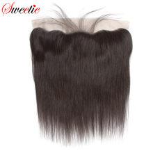 Sweettie – perruque Lace Frontal Closure péruvienne Remy, cheveux 100% naturels, oreille à oreille, 13x4, avec Baby Hair, partie libre