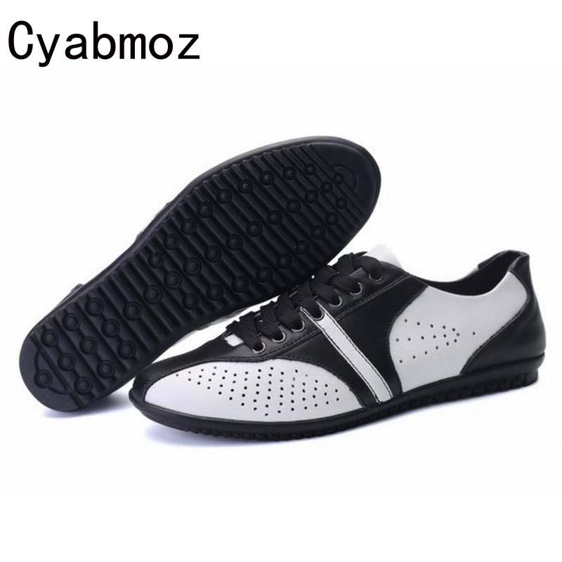 Men Shoes Genuine Leather Hollow Cut Outs Breathable Fashion Casual Shoe Mocassins Flat Sapatos Masculinos Social Zapatos Hombre high quality men flats casual new genuine leather flat shoes men oxford fashion lace up dress shoes work shoe sapatos