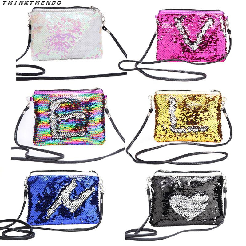 THINKTHENDO Fashion New Women Kids Girls Glitter Sequin Small Handbag Makeup Casual Crossbody Shoulder Bag With Removable Strap